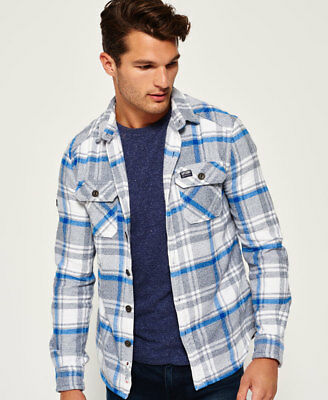 New Mens Superdry Milled Flannel Shirt Blackwell