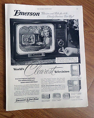 1951 TV Television Ad Emerson Mahogany  Miss Ilona Massey Movie Opera Star