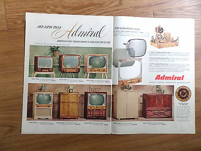 1954 Admiral Ad TV Television for 1954  Shows 8 Models