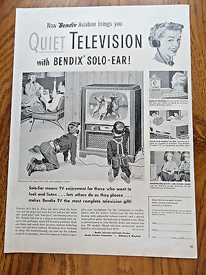 1953 Bendix Aviation Quiet Television with Solo-Ear Ad