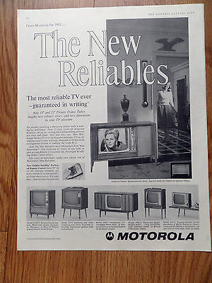 1961 Motorola TV Television Ad The New Reliables Shows 6 Models