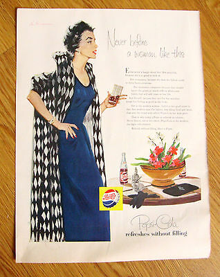 1955 Pepsi Cola Soda Ad Never before a Woman like This