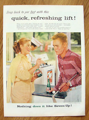 1957 7up Soda Ad  Playing Minature Golf