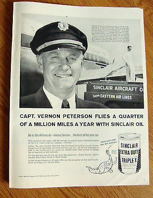 1957 Sinclair Oil Ad Captain Peterson of Eastern Air Lines