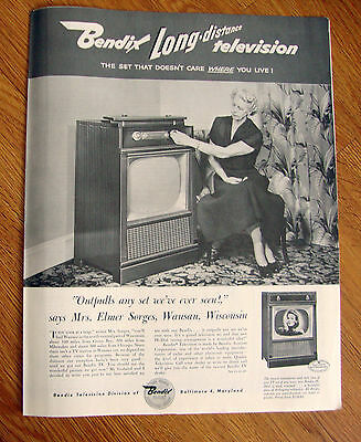 1954 Bendix TV  Ad Long Distance Television Mrs Elmer Sorges Wausau Wisconsin