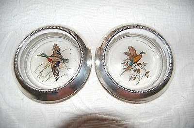 Set of 2 Frank M Whiting Sterling Silver Game Bird Coasters Vintage