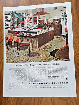 1954 Armstrong's Linoleum Floors Ad Step Saver Kitchen