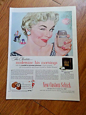 1954 Schick Shaver Ad  This Christmas Moderenize his Mornings