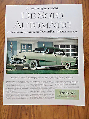 1954 DeSoto Fireddome Ad   With New Fully Automatic Powerflite Transmission