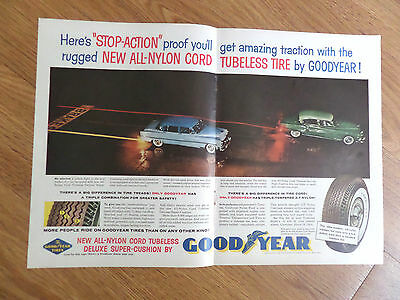 1955 Goodyear Tire Ad  Stop Action Proof Ford Chevrolet Playmouth Packard Nash ?