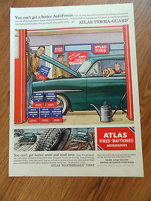 1955 Atlas Tires Ad  Ford Plymouth?  Service Theme