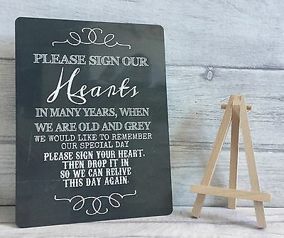 A5 Metal Hearts Drop Box Wedding Guest Book Table Sign With Easel - SECOND