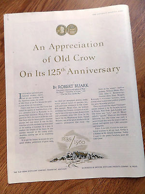 1960 Old Crow Whiskey Ad An Appreciation on its 125th Anniversary by Ruark