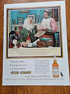 1962 Old Crow Whiskey Ad Walt Whitman