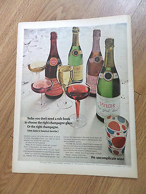 1969 Taylor Champagne Wine Company Ad Don't Need a Rule Book to Choose right