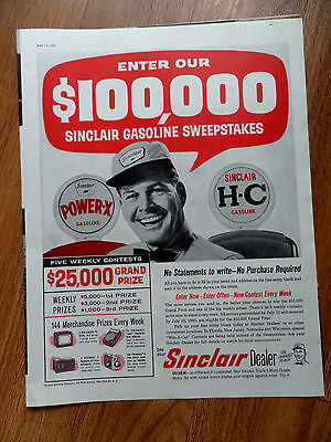 1960 Sinclair Dealer Gasoline Sweepstakes Ad $100,000