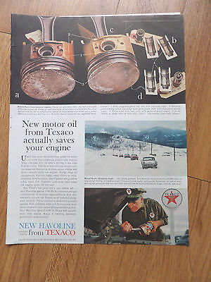 1959 Texaco Havoline Oil Ad New Motor Oil Actually Saves your Engine