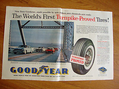 1959 Goodyear Tire Ad Florida 15 Miles Sunshine Skyway over Lower Tampa Bay