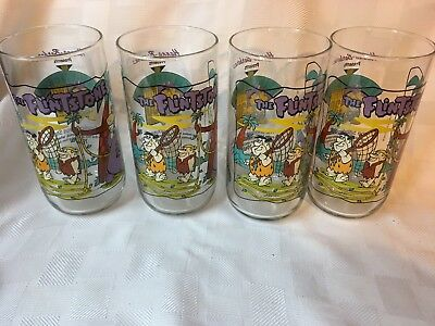 Lot of 4 Hardee's 1991 Flintstones The First 30 Years Glasses ~ Fred,Barney,Dino