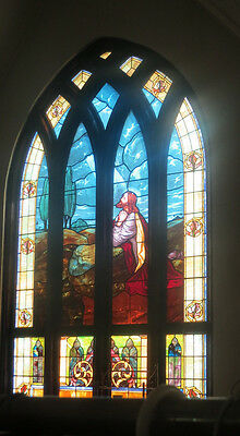 Antique Stained Glass Church Wndows 11 windows  beautiful please save these@