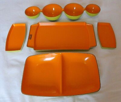 Set of 5 Retro ROBEX Italian Party Serving Dishes (Nibbles etc) Orange and Green