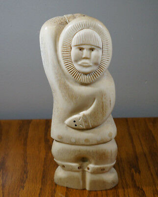 "Vintage Hand Carved Eskimo 10 1/2"" Inches Tall Signed Indigenous Art 2 Pounds"