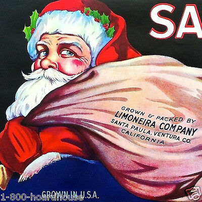 Vintage 1928 Original SANTA CLAUS LEMON CITRUS FRUIT Box Crate Label NOS Xmas