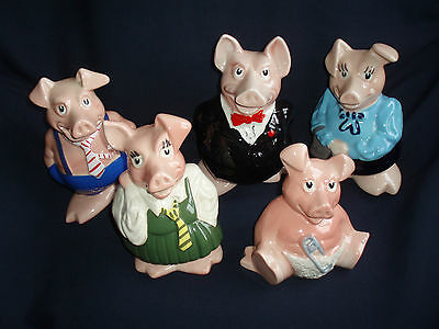 Collectable Wade Set Of Five Pigs , Moneyboxes,very Good Condition