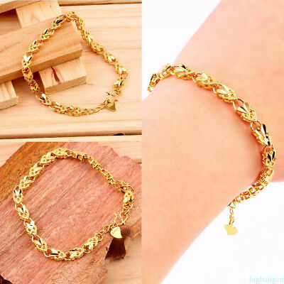 Elegant Plating 24K Gold Angel Heart Bangle Jewelry Accessories NHYUT
