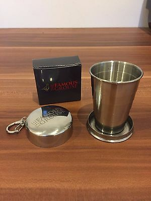 6 x The Famous Grouse Collapsible Metal Cups with Case and Keyring/Belt Clip