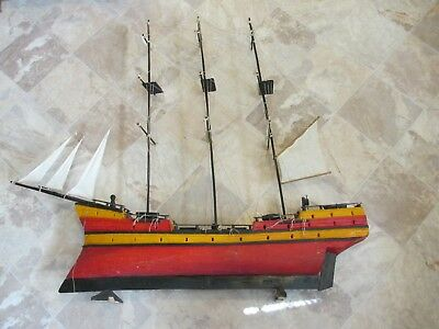 Vintage Folk Art Wooden Ship