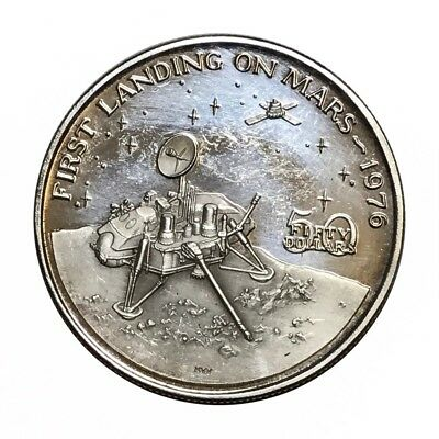 Marshall Islands Fifty Dollars 1976 First Landing On Mars Silver