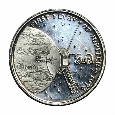 Marshall Islands Fifty Dollars 1973 Firste Flyby Of Jupiter Silver