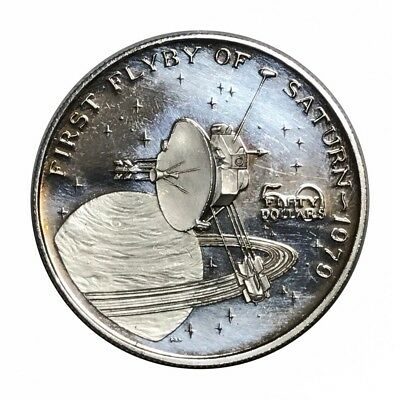 Marshall Islands Fifty Dollars 1970 First Flyby Of Saturn Silver