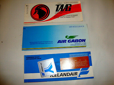 Icelandair Air Gabon Angola Airlines Passenger Ticket And Baggage Check.3 Tickes