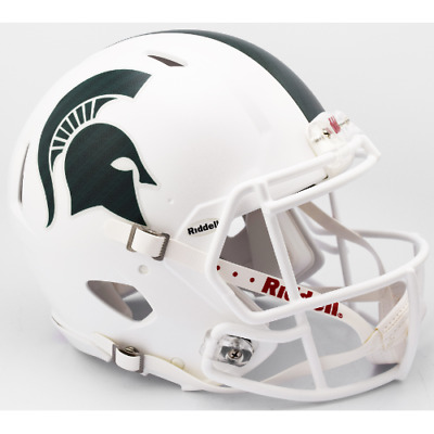 MICHIGAN STATE SPARTANS (Matte White) Riddell Full-Size Speed Authentic Helmet
