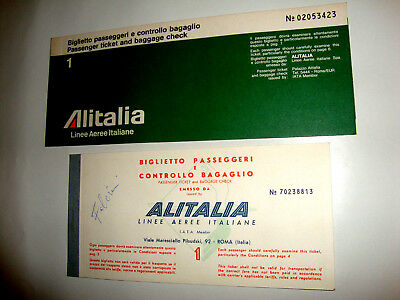 ALITALIA LINEE AEREE ITALIANE PASSENGER TICKET AND BAGGAGE CHECK.2 ancien billet