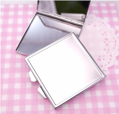 Silver Metal Square 60mm Mirror Blank Compact - DIY Craft Decoden Engraving