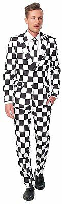 Mens Halloween Fancy Costume Suits Adults Cosplay Black White Checkered Large