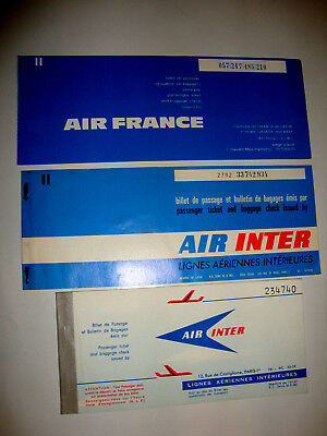 AIR FRANCE AIR INTER PASSENGER TICKET AND BAGGAGE CHECK. 3 anciens billet