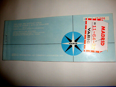 VARIG BRAZILIAN AIRLINES PASSENGER TICKET AND BAGGAGE CHECK. ancien billet