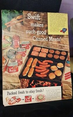 Vintage SWIFTS Prem Canned Meat Cookout Grilling Food Kitchen AD