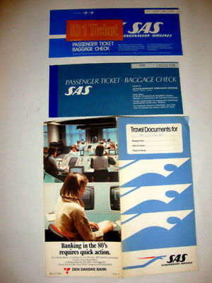 Sas Scandinavian Airlines Passenger Ticket And Baggage Check.2 Tickes + Pochette