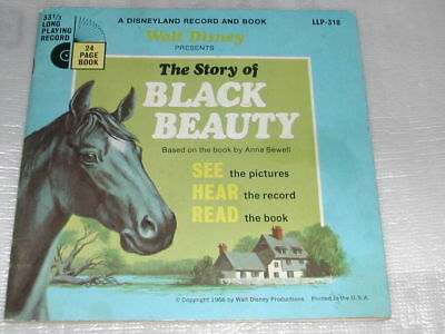"""The Story Of Black Beauty 7"""" Disneyland Record & Book LLP-318"""