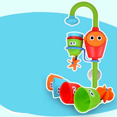 Baby Kids Gift Cartoon Flow 'N' Fill Faucet Spout Bath Toy Learning Fun Toy Set
