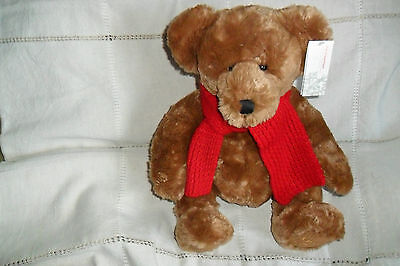 A GREAT LARGE SOFT FRASERBEAR RED SCARF WITH TAGS YEAR 2002 40 cm high