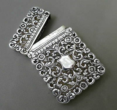 Antique Solid Silver Hand Chased Hinged Card Case 104 Grams