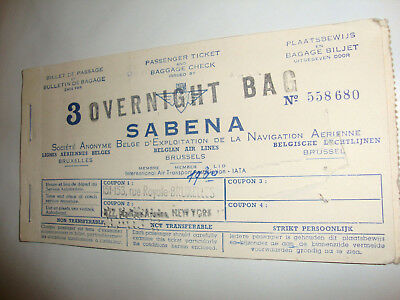 Sabena Belgium World Airlines Passenger Ticket And Baggage Check. 1930