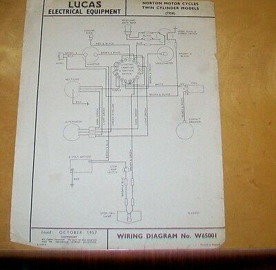 Norton Twin Cylinder Motor Cycles 1958  Lucas Wiring Diagram Oct 1957