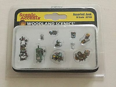 Woodland Scenics Accents 1/160 N Scale Assorted Junk Item # A2163 Factory Sealed
